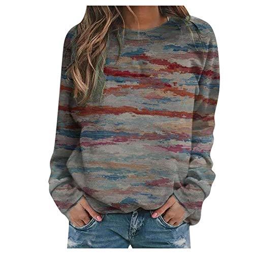 DAY8 Damen Pullover Lange Ärmel Sweatshirt Rundhals Langarmshirt Lässig Loose Langarm Bedruckte Crop Tops Patchwork Bluse Pullover Sweatshirt
