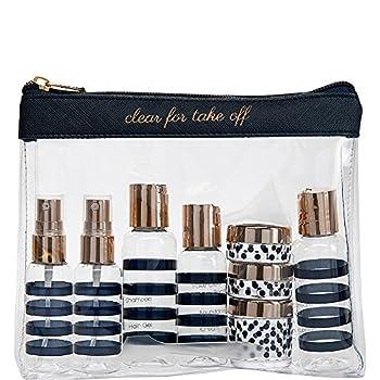 Miamica Women s TSA Compliant Travel Bottles and Toiletry Bag Kit 12 Piece Navy One Size