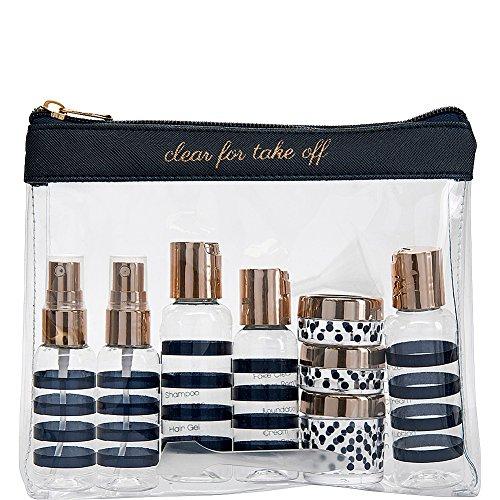 Miamica Women's TSA Compliant Travel Bottles and Toiletry Bag Kit, 12 Piece, Navy, One Size