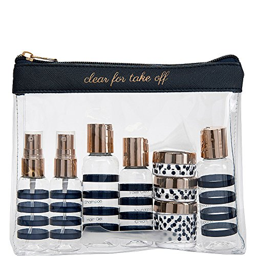 Miamica Women's TSA Compliant Travel Bottles and Toiletry Bag Kit, 12 Piece, Navy, One Size