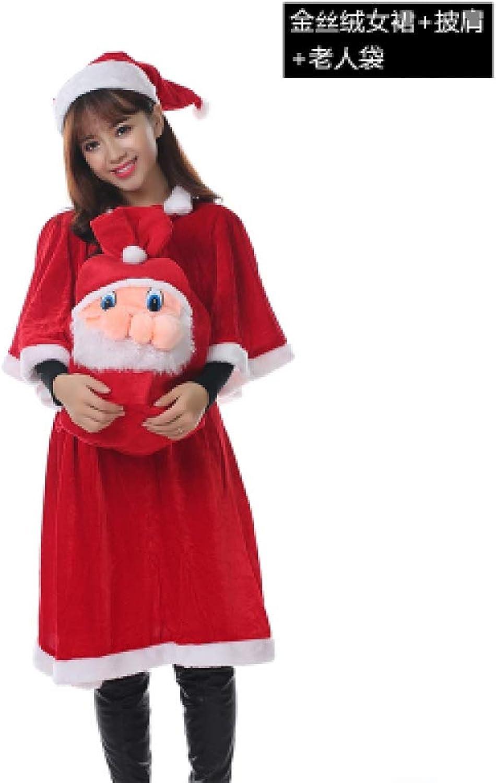 Gubby Christmas Costume Adult Women's Dress Shawl Couples Men's gold Velvet Santa Claus Costumes7