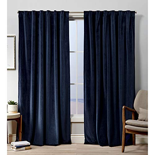 Exclusive Home Curtains Velvet HT Curtain Panel, 52x108, Navy