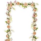 YQing Guirnalda de Flores de peonía Artificial,183cm Floral Guirnalda con Flores de peonía Mixtas y Hojas Verdes para la Boda Mesa de Comedor Decoración de Fiesta en casa
