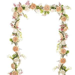 YQing Guirnalda de Flores de peonía Artificial,183cm Floral Guirnalda con Flores de peonía Mixtas y Hojas Verdes para la…