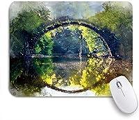 ZOMOY マウスパッド 個性的 おしゃれ 柔軟 かわいい ゴム製裏面 ゲーミングマウスパッド PC ノートパソコン オフィス用 デスクマット 滑り止め 耐久性が良い おもしろいパターン (アーチブリッジガーデン自然風景橋木のシルエットの湖水ぼかし画像)