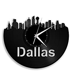 VinylShopUS Dallas Texas Vinyl Wall Clock