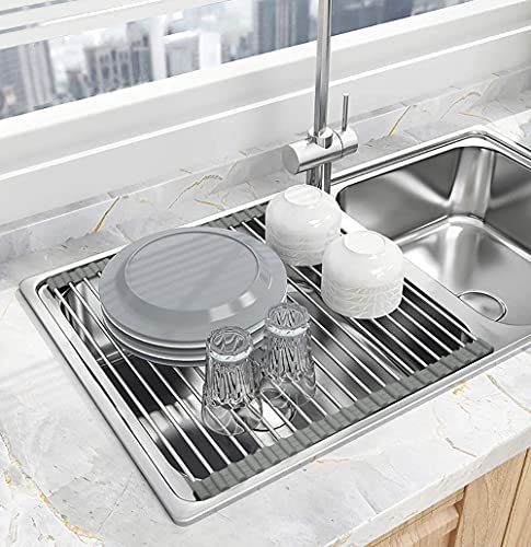 Seropy Roll Up Dish Drying Rack Over the Sink for Kitchen RV Sink 17.8x15.7 Inch Kitchen Drying Rack Folding Dish Drainer Mat Rolling Dish Rack Foldable Sink Rack Stainless Steel Wide Kitchen Dry Rack