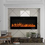 50-inch Wall-Mounted,Built-in Electric Fireplace,with Realistic 9-Color Flame,Black,with Remote Control and Timer.Adjustable Flame Color and Speed,Built overheat Protection. (Black, 50')