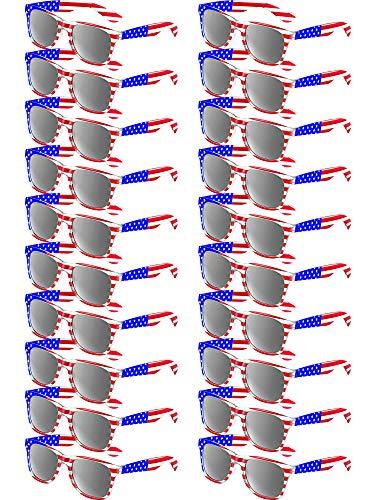 Klassische Amerikanische Flagge Sonnenbrille Patriot Spiegel Sonnenbrille USA Retro 80's Brille (20 Stücke, Grau)