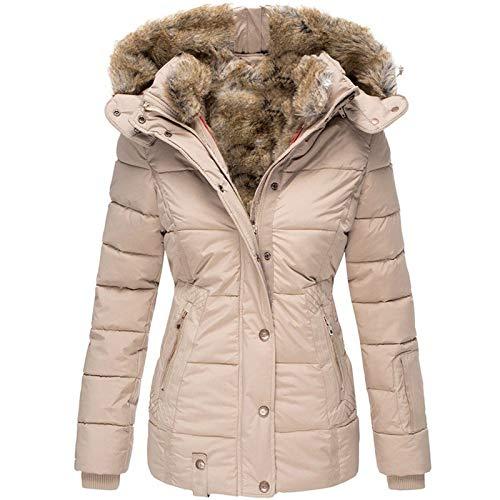 Kobilee Giacca invernale da donna, corta, con pelliccia, foderata, calda, taglie forti, elegante in vita, Colore: rosa., XXL