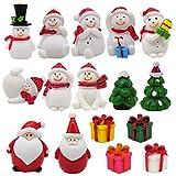 EMiEN Juego de adornos en miniatura de muñeco de nieve de invierno para bricolaje, escena de Navidad, decoración de casa de muñecas, mini árbol de Navidad, Papá Noel decoración de fiestas de Navidad