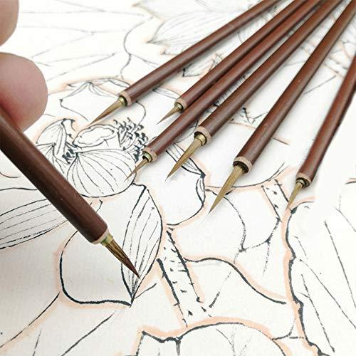 zhuangyulin6 Cepillo de Pintura de Acuarela Profesional 3PCS, Cepillo de Pelo de comadreja de Metal, Pincel de línea de Gancho, Pincel de caligrafía China, Pincel de Pintura al óleo de Arte