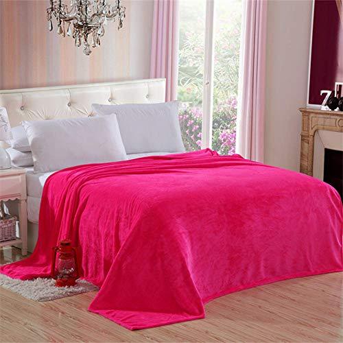 Amosiwallart Manta - Muchos tamaños y Colores Diferentes - Manta de Microfibra Manta para Sala de Estar Manta para Cama - Fibra Polar de Microfibra de Franela -Rosa roja_Los 70 * 90cm