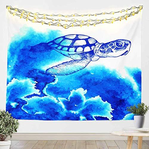 Tapiz para colgar en la pared de la tortuga marina, 3D, para niños, niñas, adolescentes, océano, decoración de pared, manta de cama, manta azul grande 122 x 179 cm