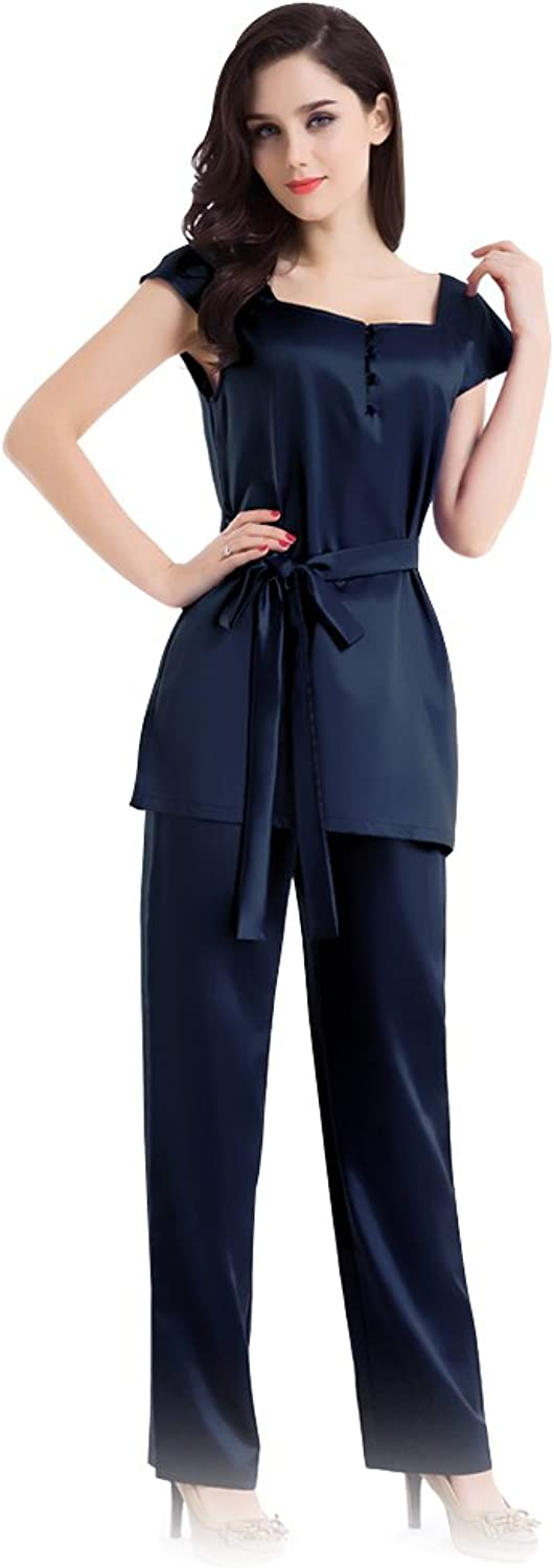 Fairylotus 100% Mulberry Silk Pajamas Nightshirt Square Neck Top Cap Sleeve Dark bluee Blouse Sale