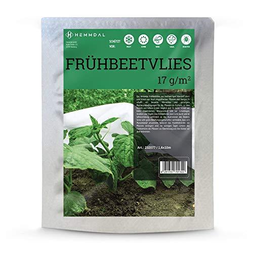Frühbeetvlies Hemmdal - 1,6 m x 10 m, 17g/m² - Profi Frostschutzvlies - Made in Europe - Wasserdurchlässig & atmungsaktiv - Gartenvlies weiß