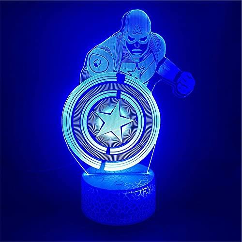 XKUN Luz 3D para niños, noche de Navidad 3D, noche de niños, noche de 16 colores, botón táctil, decoración óptica, luces de noche, lámpara de escritorio, superhéroe