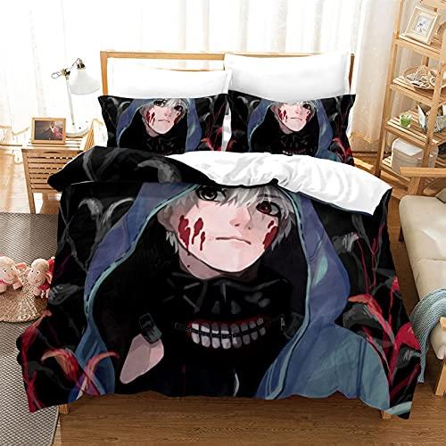 ZZYYII Tokyo Ghoul: Kaneki Ken, la Cubierta del edredón de Anime (1 Colcha y 2 pillowcasas), impresión 3D, Ropa de Cama, Cubierta de edredón Individual/Doble, Regalo para los fanáticos de Anime/niños