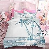 Home Textiles Parure de lit avec motif de plage tropicale avec palmiers et hamac hawaïen (3pcs, California King size)