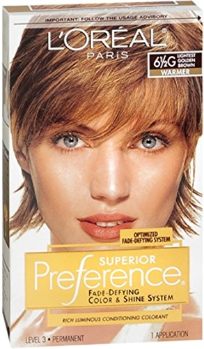 L'Oreal Paris Superior Preference Fade-Defying + Shine Permanent Hair Color, 6.5G Lightest Golden Brown, Pack of 1, Hair Dye