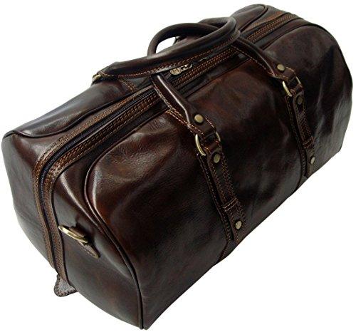 Rivello borsone da viaggio/bagaglio a mano - pelle italiana - marrone scuro - bagaglio a mano