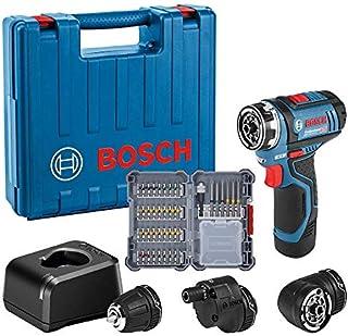 Bosch Professional GSR 12V-15 FC - Atornillador a batería (12V, 30 Nm, 3 cabezales FlexiClick, 1 batería x 2.0 Ah, 40 acc....