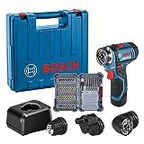 Bosch Professional GSR 12V-15 FC - Atornillador a batería (12V, 30 Nm, 3 cabezales FlexiClick, 1...