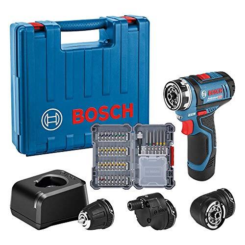 Bosch Professional GSR 12V-15 FC - Atornillador a batería (12V, 30 Nm, 3 cabezales FlexiClick, 1 batería x 2.0 Ah, 40 acc., en maletín) - Amazon Edition