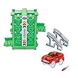 Codomoxo Elevator Accessories con un coche de carreras, elevador único en la colección de curvas en un camino, se adapta a todos los juegos de vehículos Magic Tracks (verde)