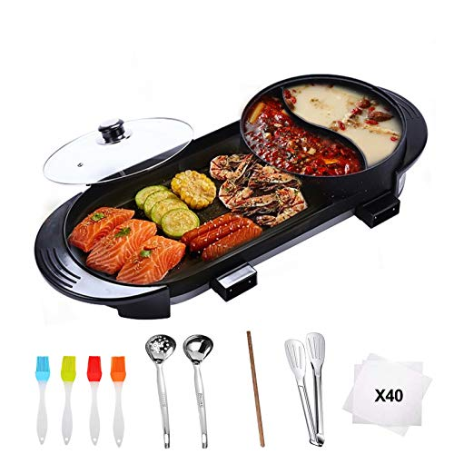 Hantehon Electric Grill with Hot Pot, 2-in-1 Portable Electric Barbecue...