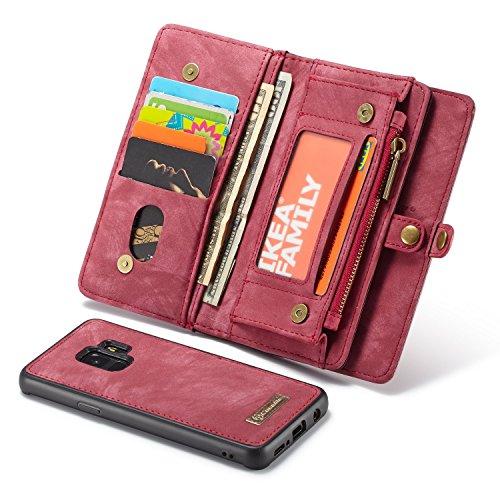 Qilo Cremallera Monedero for el Caso de Samsung Galaxy S9, 2-en-1 Caso Hecho a Mano Cartera de Cuero Multifuncional con Tarjeta de crédito y Las Ranuras de la Cubierta Obliterable Carcasas y Fundas