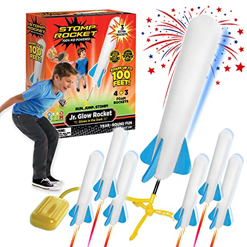 The Original Stomp Rocket Jr. Glow Rocket and Rocket Refill Pack, 7 Rockets and Toy Rocket Launcher - Outdoor Rocket Toy Gift for Boys and Girls Ages 3 Years and Up