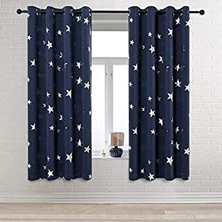 Anjee Navy Blue Star Print Blackout Curtains for Kids...