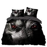 SSIK Set copripiumino con motivo lupo, effetto 3D, set di biancheria da letto con federa, motivo animali selvatici, per letto singolo, matrimoniale, casa, hotel, dormitorio (C,200 x 200)