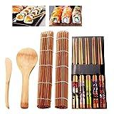 DODY Sushi Making Kit Set, Bamboo Sushi Mat,9 PCS-Sushi Rolling Mats Rice Paddle Rice Spreader Sushi Rolling Kit Bamboo Beginner Sushi Kit