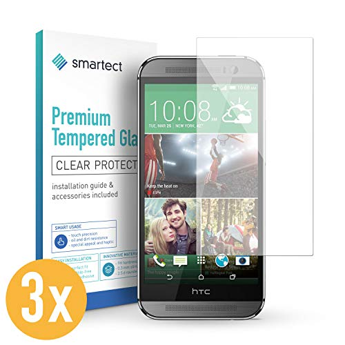 smartect Panzerglas kompatibel mit HTC One M8 / M8s [3 Stück] - Bildschirmschutz mit 9H Festigkeit - Blasenfreie Schutzfolie - Anti Fingerprint Panzerglasfolie