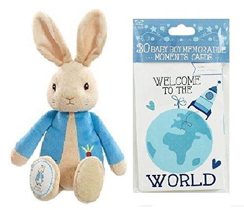 Paquet bébé nouveau-né Peter Rabbit en peluche et Baby Moment Cards Blue Baby Boy Gif (expédiés à partir du Royaume-Uni)