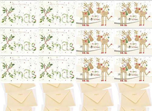 Set kerstkaarten met envelop – hoogwaardige reliëf, verschillende motieven mat natuurkarton met blanco binnenkanten voor kerstgroeten, familie, vrienden en klanten. 2 x 6 stuks.