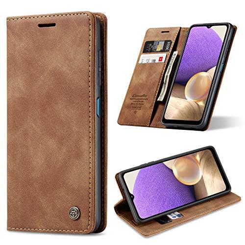 ivencase Handyhülle Kompatibel mit Samsung Galaxy A32 5G Hülle, mit Kartenfach Geld Slot Ständer Flip Schutzhülle für Samsung A32 5G Wallet Hülle PU Leder (braun)