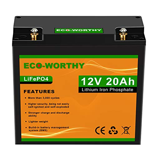 ECO-Worthy 12V 20Ah LiFePO4 Lithium Iron Deep Cycle Rechargeable Battery with Built-in BMS, 3000+ Life Cycles, Perfect for RV, Boat, Kids Scooters, Power Wheels, Tool Trailer, etc