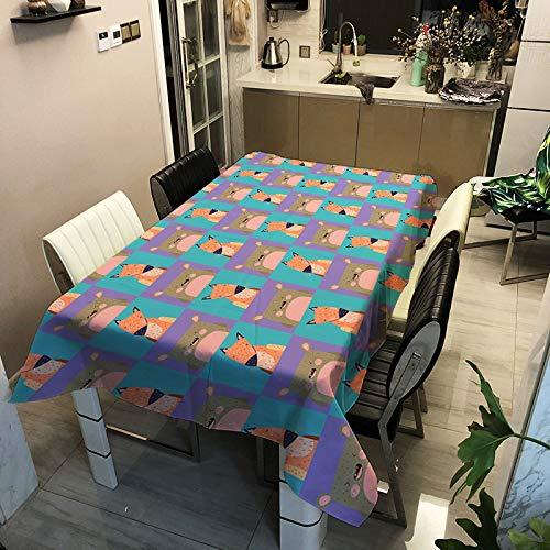 SHANGZHAI Cartoon Tier Serie, digital Bedruckte Tischdecke, Polyester wasserdicht und ölbeständige Tischdecke, Haushaltsmode Tischdecke ZB2127-12 140x180cm