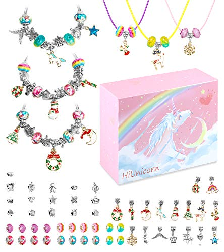 HiUnicorn Christmas Unicorn Gift Jewelry Making Kit for Teen Girls, DIY Pendant Charms for Bracelets Necklaces Set with Xmas Rainbow Crystal Beads, Handmade Craft Supplies with Pink Gift Box