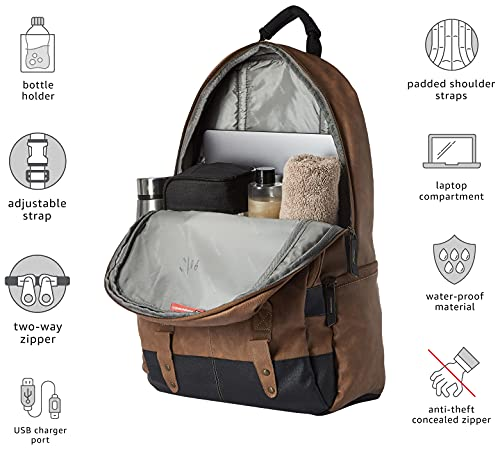 Gear Classic Anti Theft Faux Leather 20 Ltrs Tan Laptop Backpack (LBPCLSLTH1901)