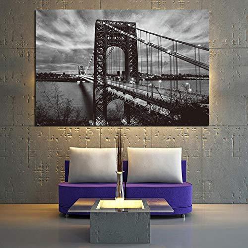 RTCKF Schwarzweiß Poster Auf Leinwand Von New York Brooklyn Bridge Kunst Landschaftsmalerei Wohnzimmer Abstrakte Wandbild A6 70x100 cm