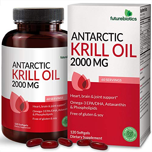 Futurebiotics Antarctic Krill Oil 2000mg with Astaxanthin, Omega-3s EPA, DHA and Phospholipids - 100% Pure Premium Krill Oil Heavy Metal Tested, Non GMO – 120 Softgels