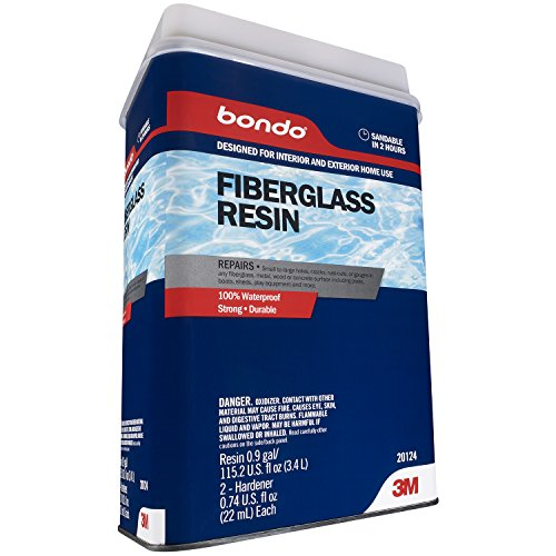 Bondo Home Fiberglass Resin, Designed for Interior and Exterior Home Use, 100% Waterproof, Strong, Durable, 0.9 Gallon