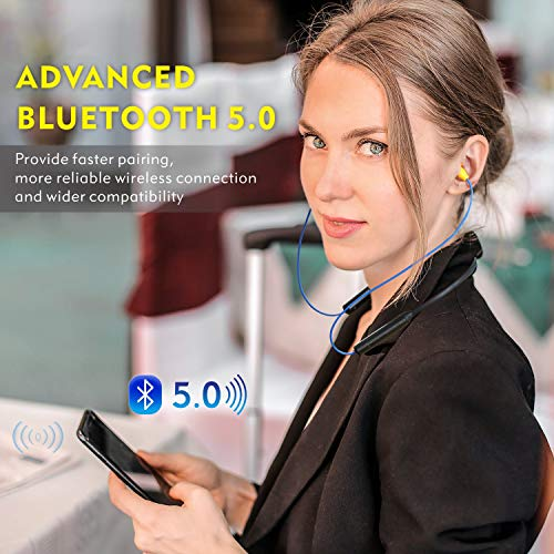 Bluetooth earplug headphones, Mipeace neckband wireless earbuds earplugs-29db noise reduction isolating in-ear earplug earphones with mic and controls, IPX5 sweatproof, 16+Hour battery for work safety