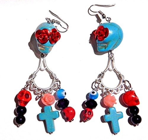 Sugar Skull Earrings day of the dead roses stone cross Dia de los Muertos Mexican Gothic
