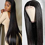FLYBAO 4 x 4 Lace Front Wigs 22 inch Straight Human Hair Wigs with Baby Hair Brazilian Virgin Human Hair Lace Closure Wigs for Black Women Pre Plucked Hairline With Elastic Bands Natural Color