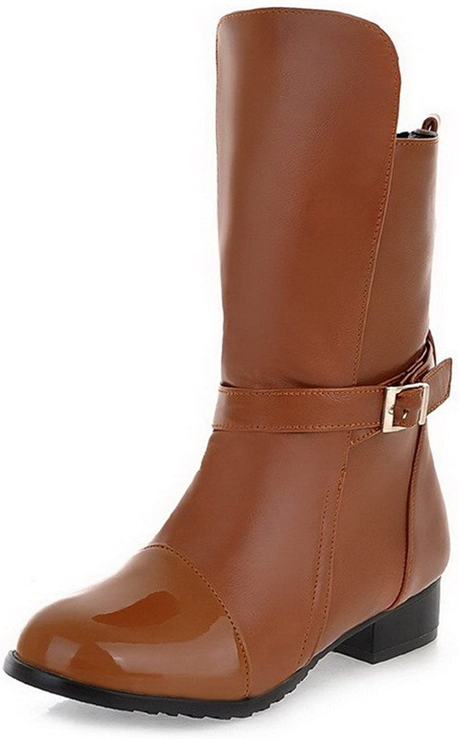 WeiPoot Women's Soft Leather Pull-On Round Closed Toe Low-Heels Low-Top Boots